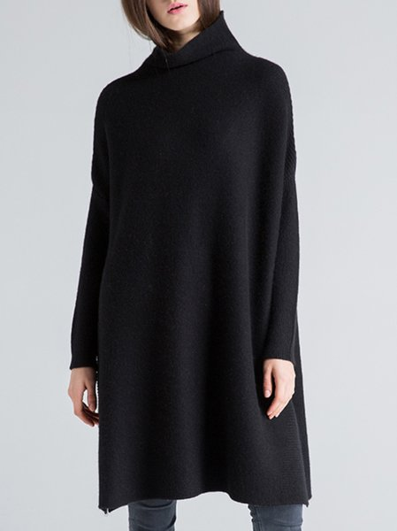 Black Cashmere Long Sleeve Knitted Turtleneck Sweater