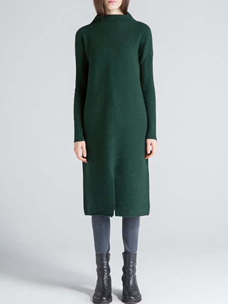 Plain Simple Long Sleeve Turtleneck Sweater Dress