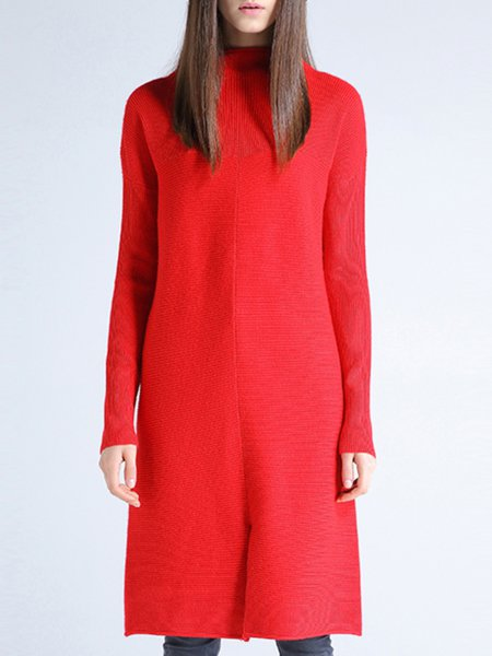 Red Slit Simple Plain Turtleneck Sweater Dress