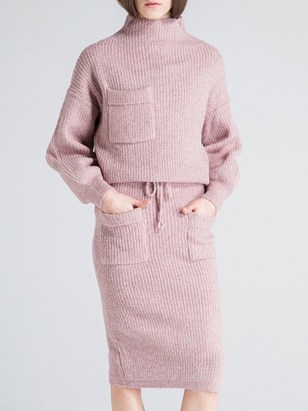 Pink Turtleneck Two Piece Long Sleeve Midi Dress