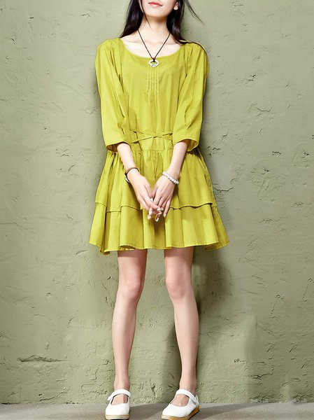 Yellow Raglan Sleeve Cotton-blend Pleated Mini Dress