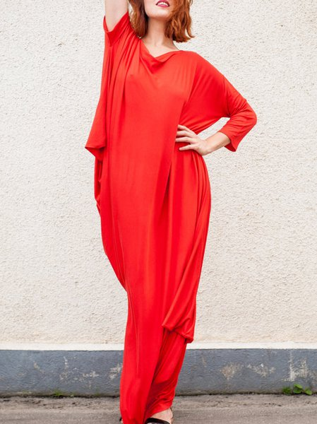 Red Long Sleeve Shift Cotton Maxi Dress