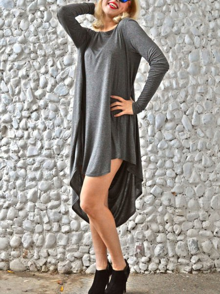 Gray Hand Made Shift Long Sleeve Viscose Maxi Dress
