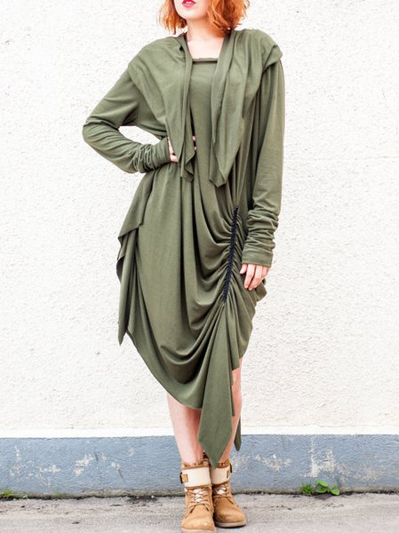 Green Viscose Long Sleeve Tunic