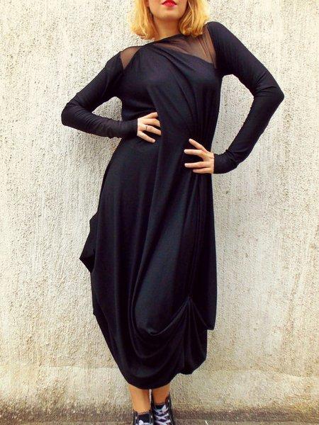 Black Plain Long Sleeve Hand Made Maxi Dress