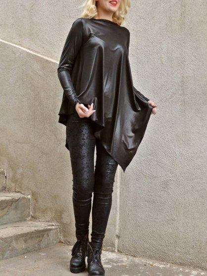 Black Plain Long Sleeve Polyester Shift Top