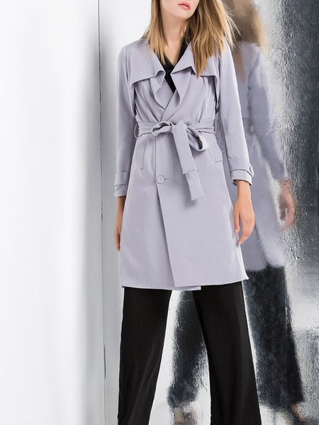 Gray Cotton Work Trench Coat