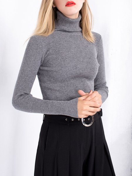 Gray Long Sleeve Plain Knitted Sweater