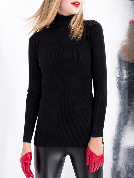 Green Knitted Turtleneck Long Sleeve H-line Sweater