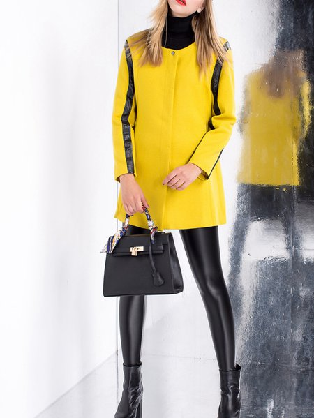 Yellow Casual Buttoned H-line Plain Coat