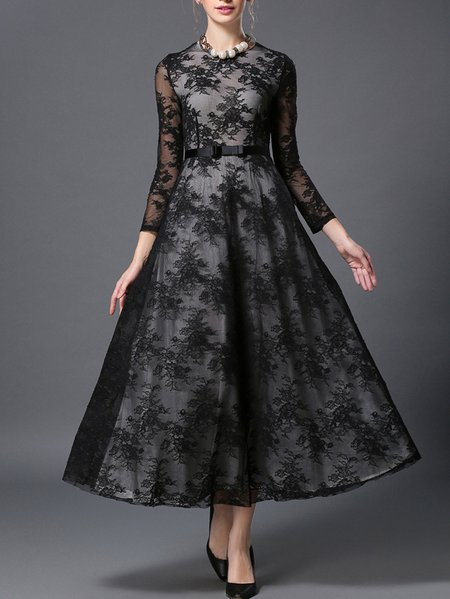 Black Long Sleeve Crew Neck Lace Swing Maxi Dress