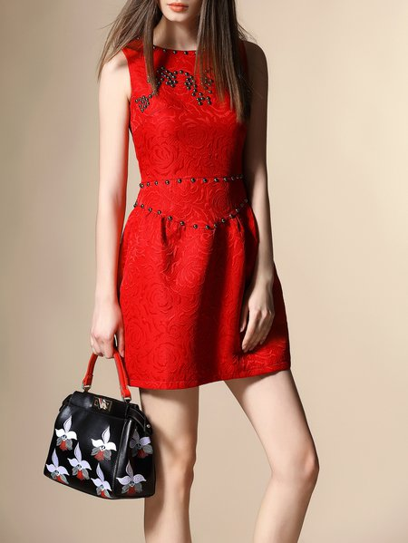 Girly Jacquard Sleeveless Crew Neck Floral Mini Dres