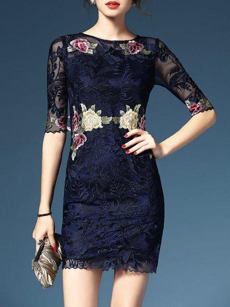 Black Pierced Sheath 3/4 Sleeve Mesh Mini Dress