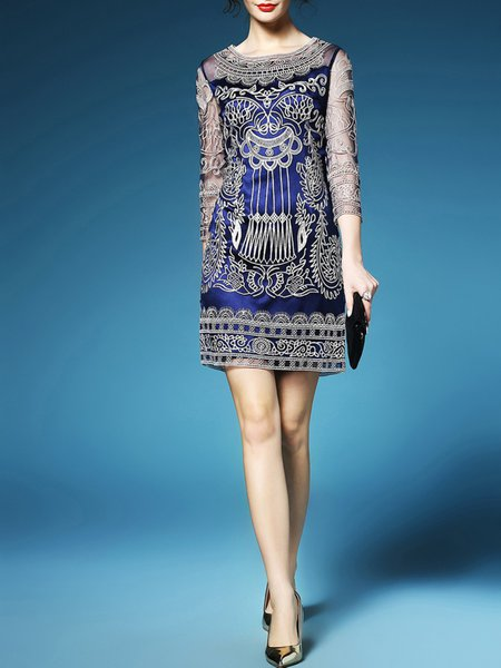 Purplish Blue Polyester Sheath 3/4 Sleeve Embroidery Mini Dress