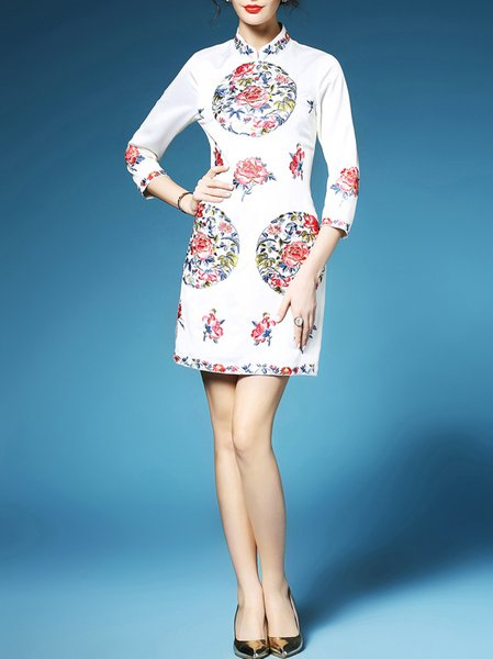 Beige 3/4 Sleeve Polyester Mini Dress