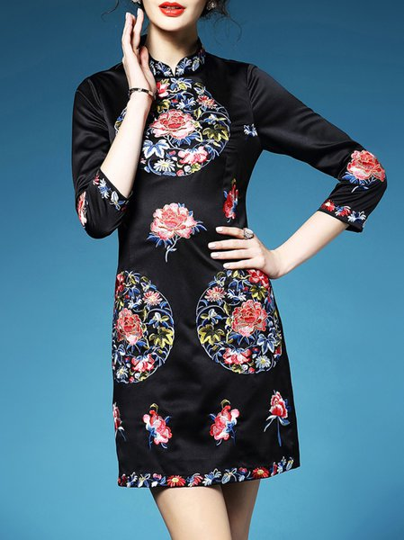 3/4 Sleeve Stand Collar Floral Embroidery Vintage Mini Dress