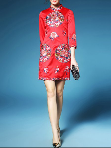 Red 3/4 Sleeve Embroidery Polyester Sheath Mini Dress