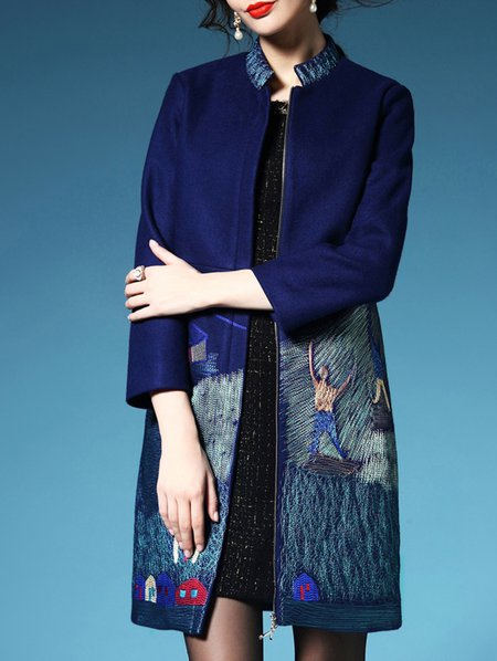 Stand Collar 3/4 Sleeve Wool Blend Casual Coat