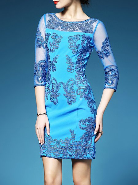 Light Blue Pierced 3/4 Sleeve Sheath Mesh Mini Dress