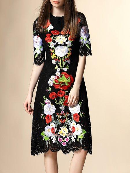 Black Half Sleeve Floral Crew Neck A-line Midi Dress