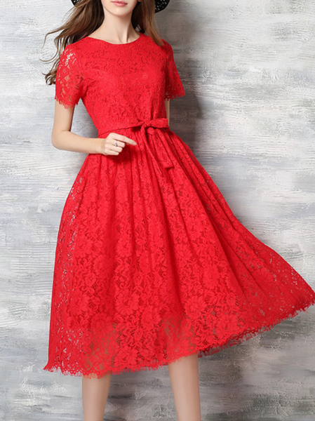 Red Pierced Short Sleeve Midi Dress