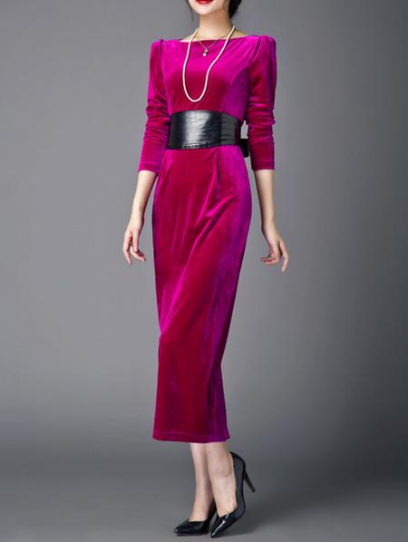 Fuchsia Velvet Long Sleeve Plain Maxi Dress - StyleWe.com