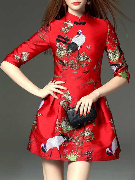 Red Stand Collar Vintage Jacquard 3/4 Sleeve Mini Dress