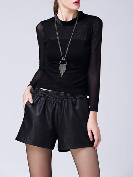 Black Plain Wool Blend Paneled Long Sleeve Long Sleeve Top