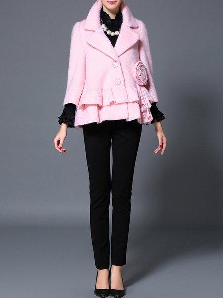 Pink Wool Blend 3/4 Sleeve Shift Coat