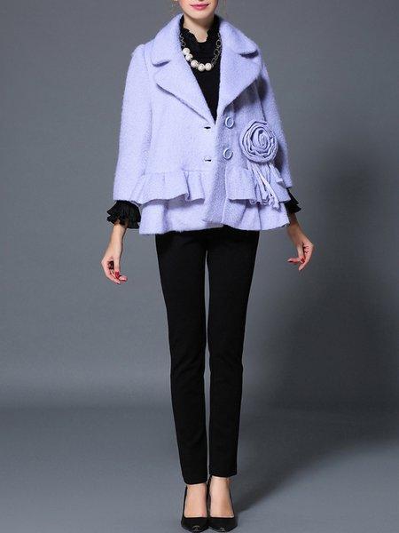 Blue 3/4 Sleeve V Neck Coat