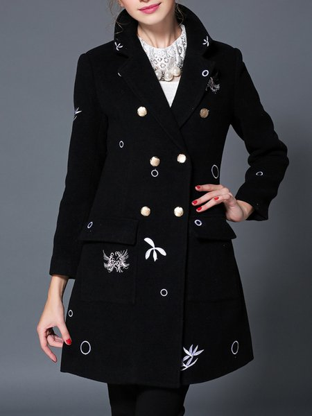 Black Wool Blend Embroidery A-line Long Sleeve Coat
