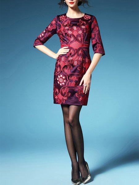 Burgundy Elegant Embroidery Mini Dress