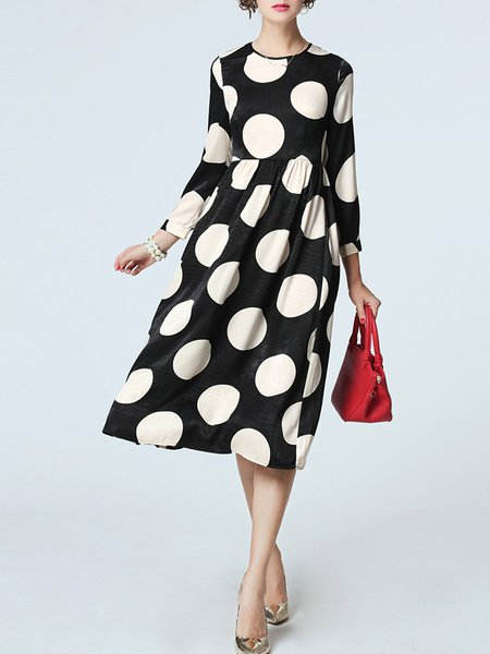 Black-white Polka Dots Casual Midi Dress