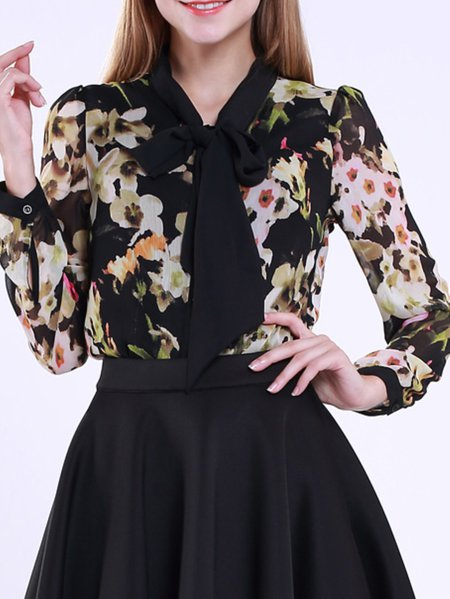 Black Floral Paneled Polyester Blouse