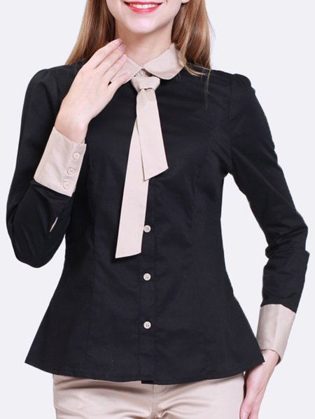Cotton-blend Casual Long Sleeve Shirt Collar Blouse