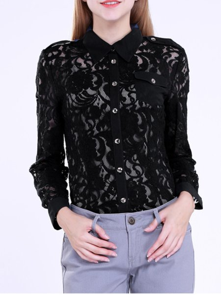 Black Floral Shirt Collar Long Sleeve Blouse