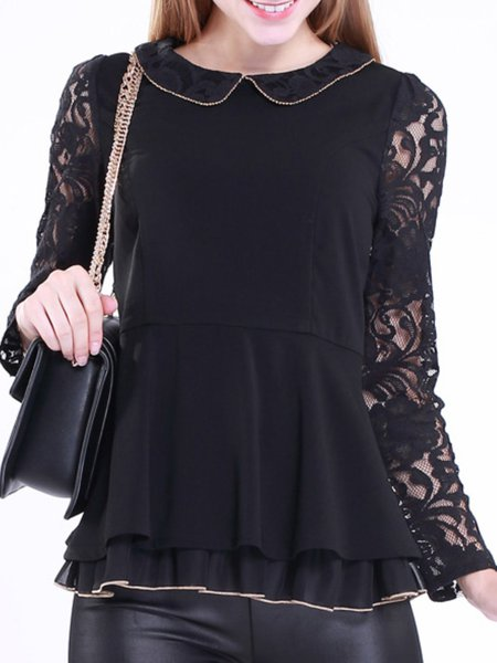 Black Polyester Plain Ruffled Blouse