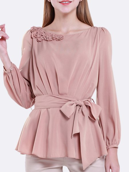 Pink Crew Neck Polyester Long Sleeved Top with Belt