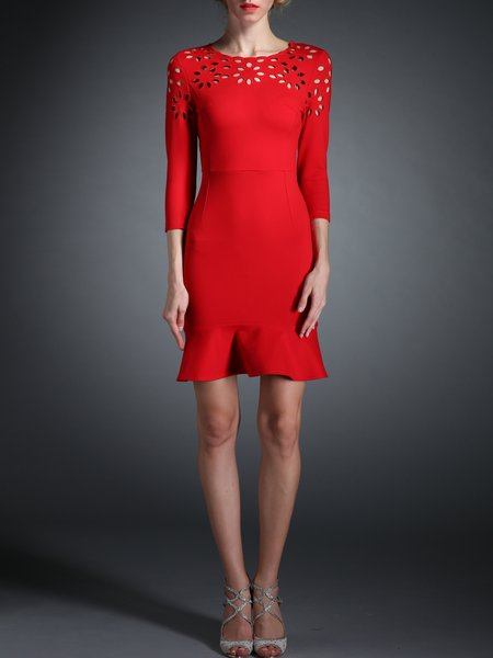 Red Polyester 3/4 Sleeve A-line Pierced Mini Dress