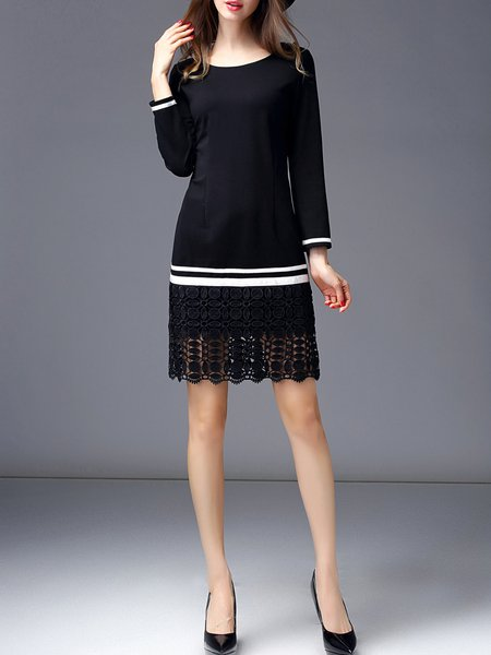 Black Long Sleeve Polyester Midi Dress