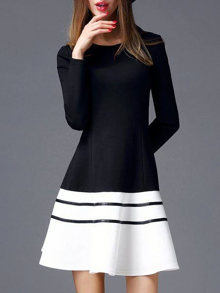 Black-white Cotton-blend Long Sleeve Color-block Crew Neck Midi Dress