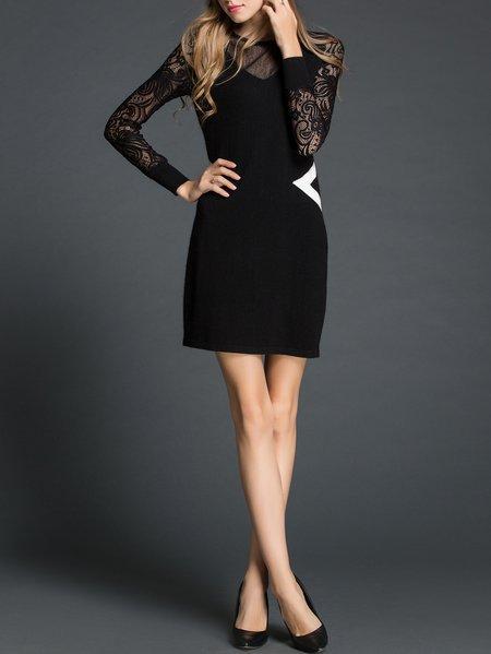 Black Long Sleeve Cashmere Paneled Mini Dress