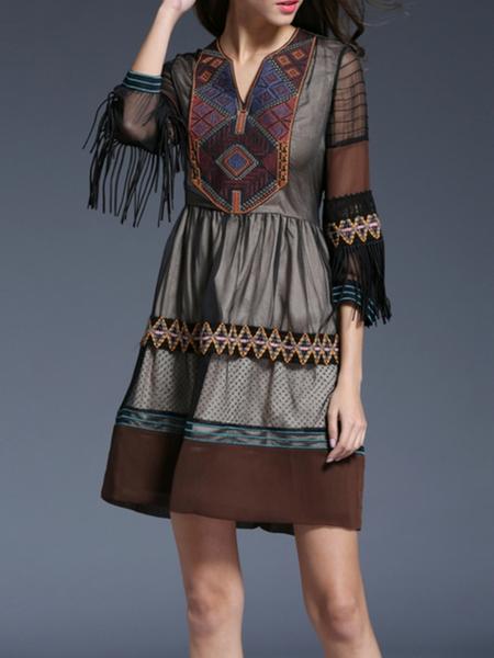 Coffee 3/4 Sleeve Fringed Mini Dress