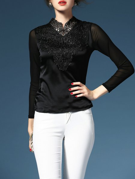 Black Embroidery Long Sleeve Long Sleeved Top