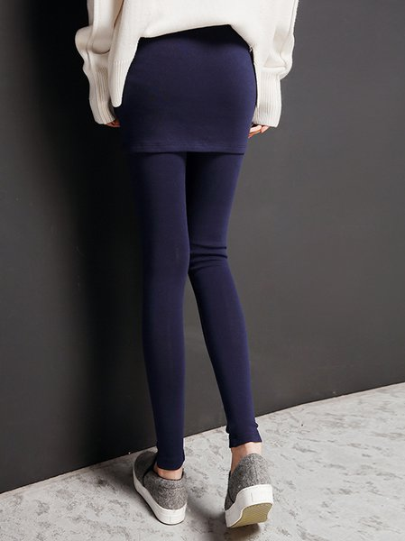 Dark Blue Casual Paneled Two Piece Leggings