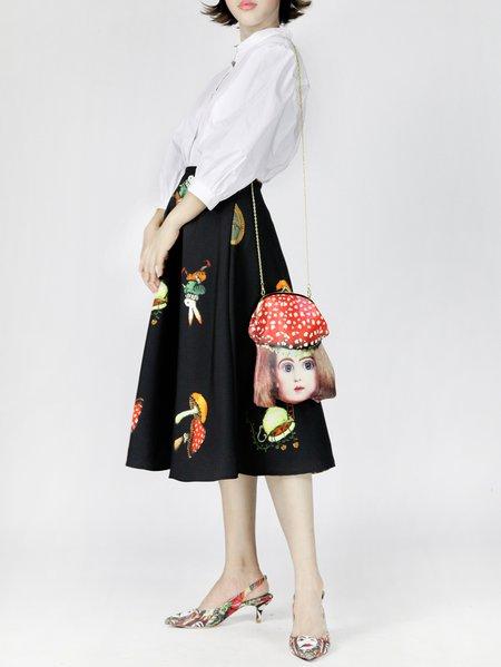 Black A-line Jacquard Midi Skirt
