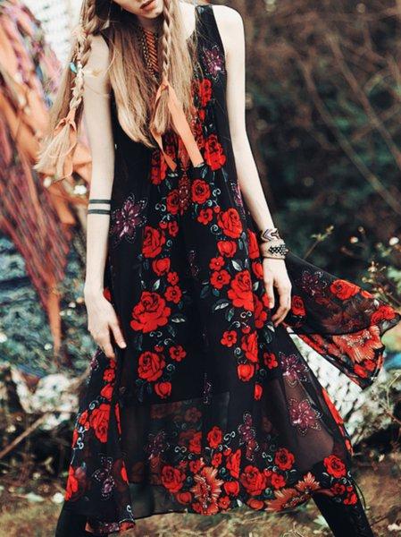 Multicolor Chiffon Sleeveless Maxi Dress