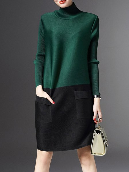 Green Shift Long Sleeve Color-block Midi Dress