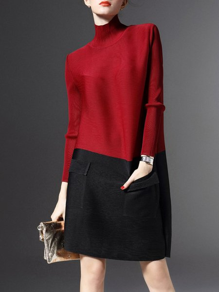 Red Color-block Turtleneck Long Sleeve Midi Dress