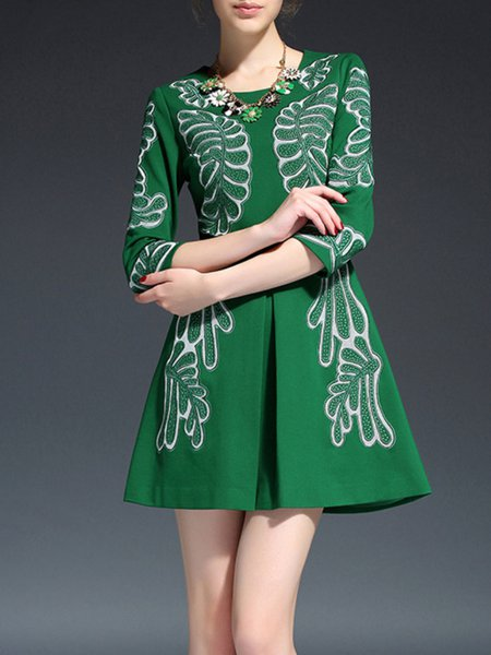 Green 3/4 Sleeve Floral Polyester Mini Dress